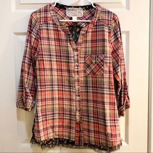 NICK & MO BY ANTHROPOLOGIE Plaid Flannel Top L